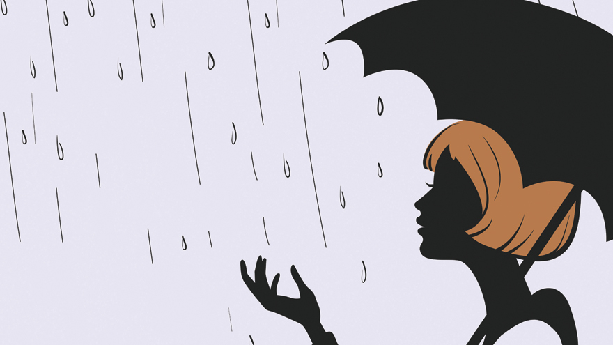 Girl Silhouette with Umbrella in rain