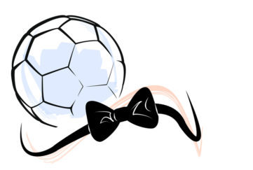 A football and a bow tie