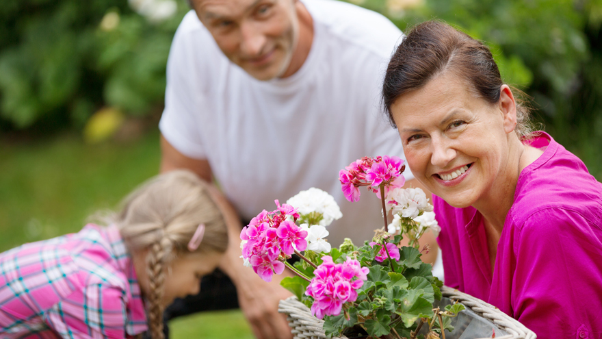 Woman with geraniums Pic: Rex/Shutterstock