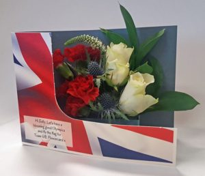 Flowers in union jack box