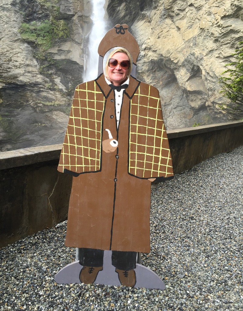 Sheila at the Reichenbach Falls