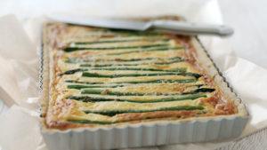 Asparagus, potato and cheese tart