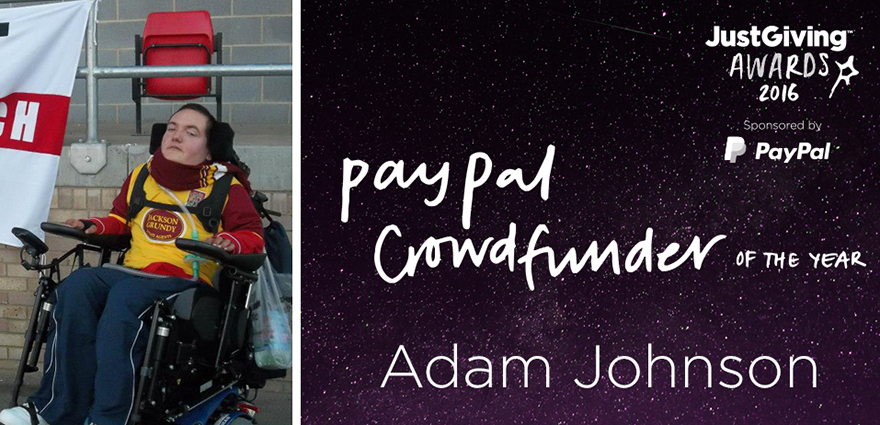 Paypal Crowdfunder of the Year logo and photo of Derry in a wheelchair at a football game