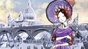 Lady walking by a frozen lake illustration