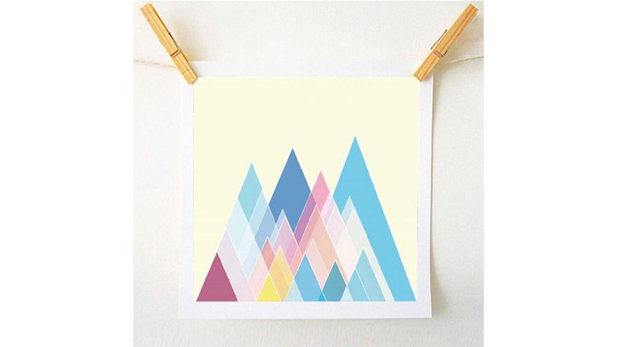 Art Print with geometric pastel design