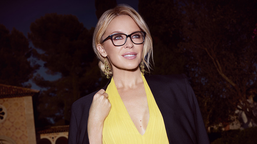 Kylie Minogue wearing glasses
