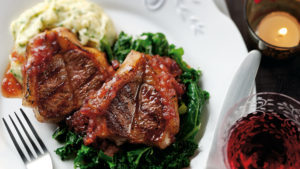 Lamb with kale and mash