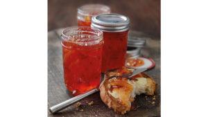 Jars of blood orange marmalade
