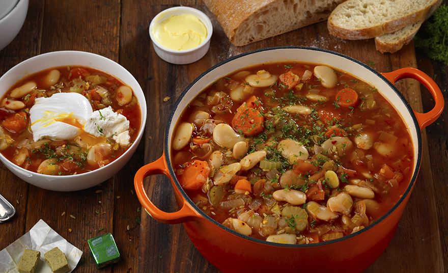 Olivia and Hadyn's Butterbean Stew with Poached Egg & Soft Goats Cheese