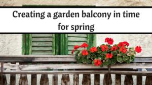 Balcony garden, potted plants, shuttered doors