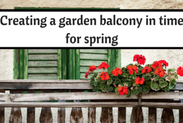 Balcony garden, potted plants, shuttered doors