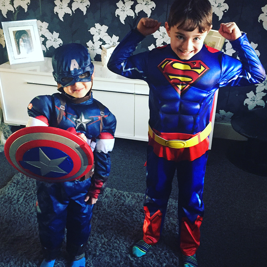 Our Features Ed shares this cute picture of her children, Calvin and Miles, dressed up today for World Book Day