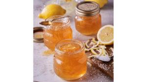 Lmeon and elderflower marmalade in jars