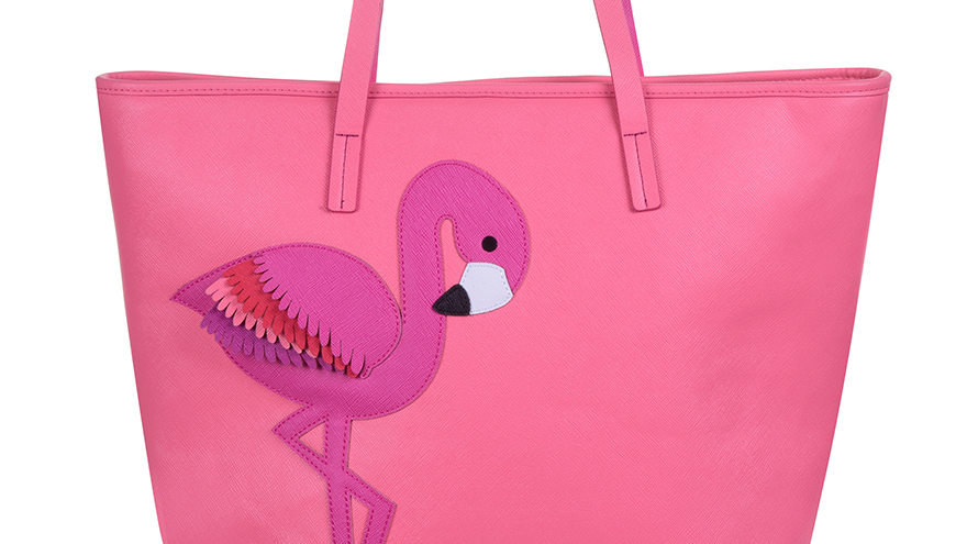 Bright pink shopping bag, shoulder straps, with large felt flamingo motif in deeper pink and white