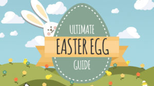 graphic with bunny and giant egg reading Ultimate Easter Egg Guide