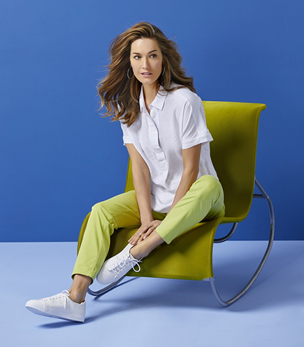 Lime stretch jeans, £50, white shirt, £50