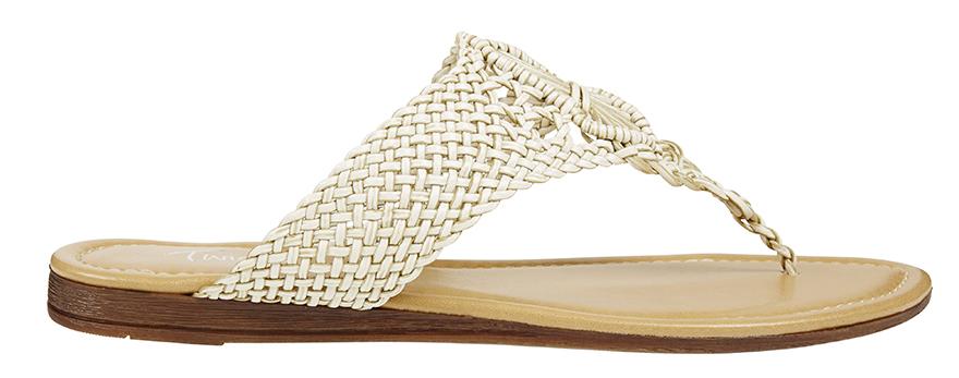 Flat toe-thong sandal, cream coloured crochet and woven upper