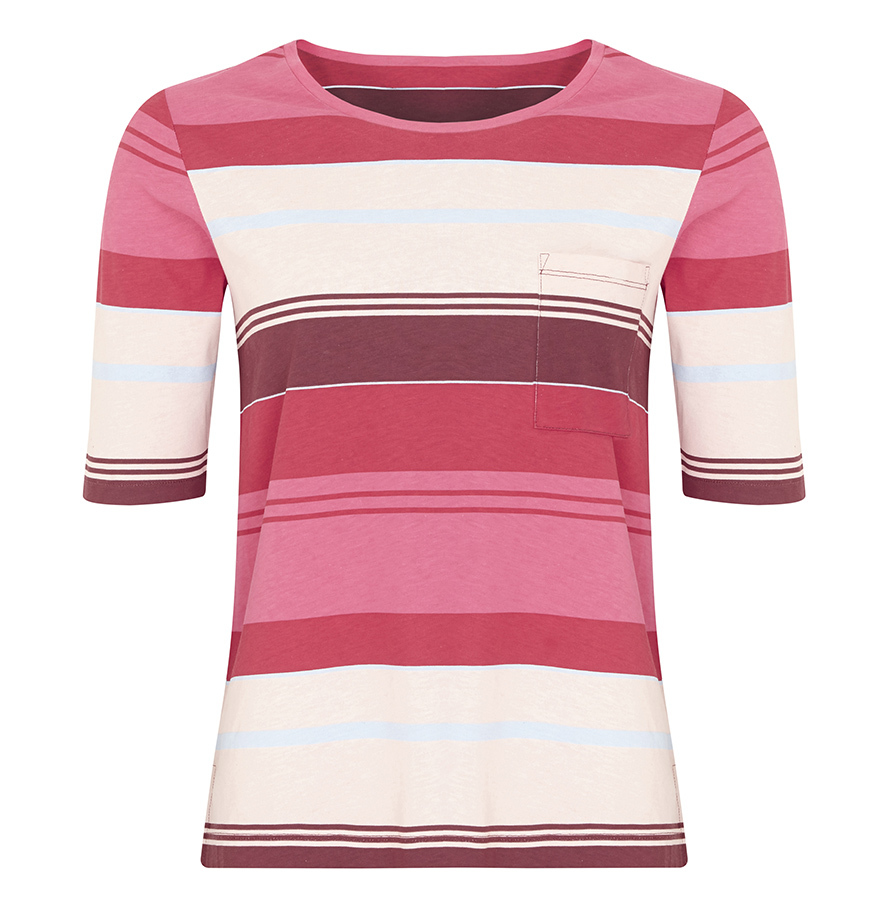 3 quarter sleeve fitted T shirt, bold horizontal stripes in cream, pink, burgundy, pale blue and red