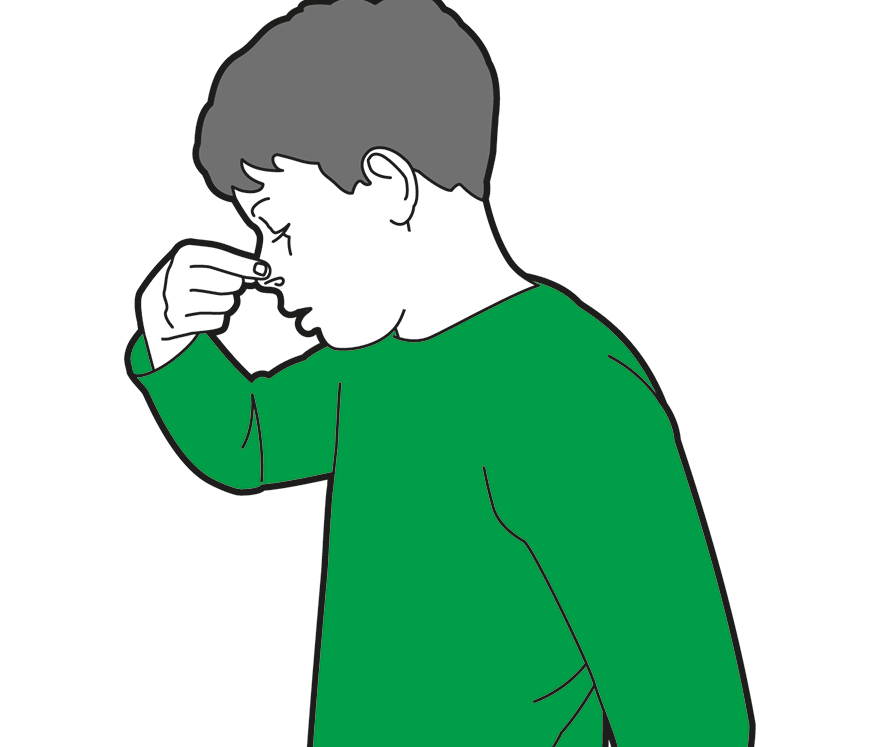 Drawing of child treating nosebleed by pinching nose and breathing through the mouth