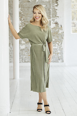 Green Belted Pleated Tie Dress, £28