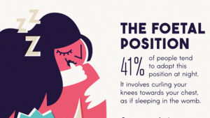 Illustration of the foetal position in sleep