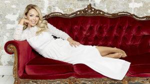 Katie Piper in a white crochet maxi dress