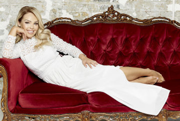Katie Piper in a white crochet maxi dress