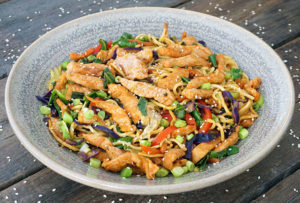 Pork stir-fry in a bowl