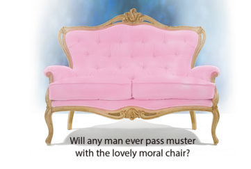 A pink small sofa