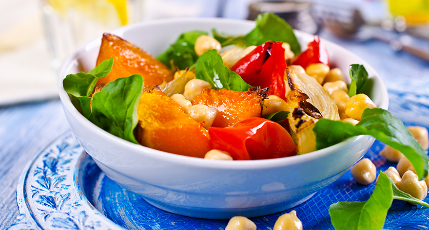 Roasted vegetables and salad Pic: Istockphoto