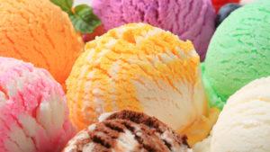 Scoops of multi-coloured ice cream