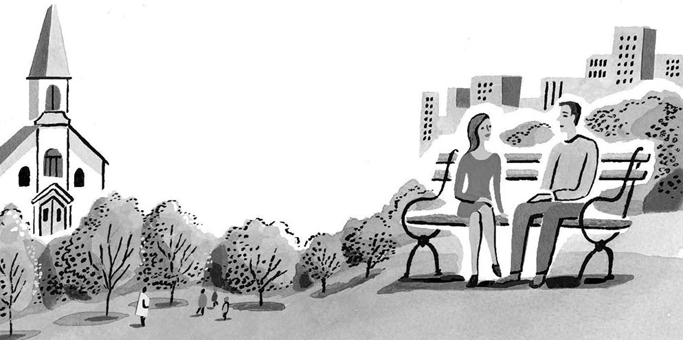 drawing of man and woman on bench