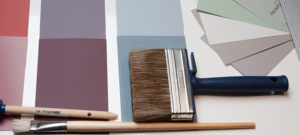 Paintbrushes and colour charts