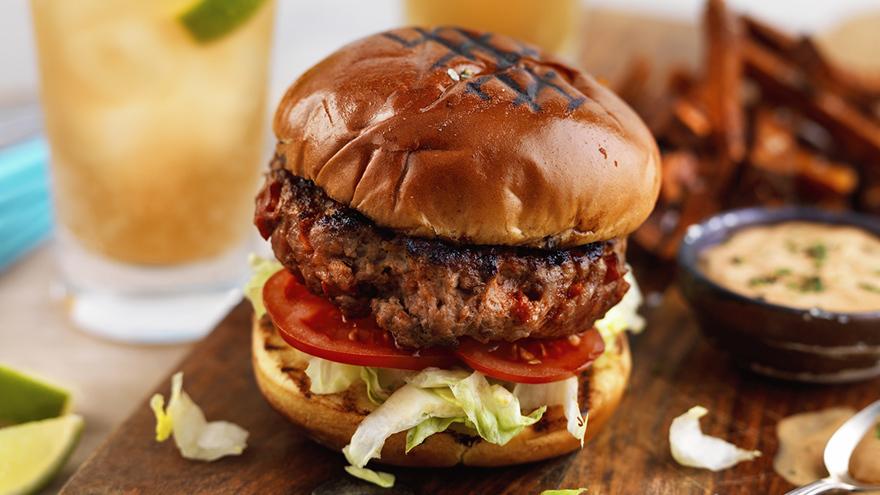 Pork burger on a brioche bun