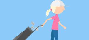 Illustration of woman pulling golf cart