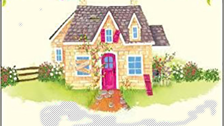 pretty pastel drawing of country cottage