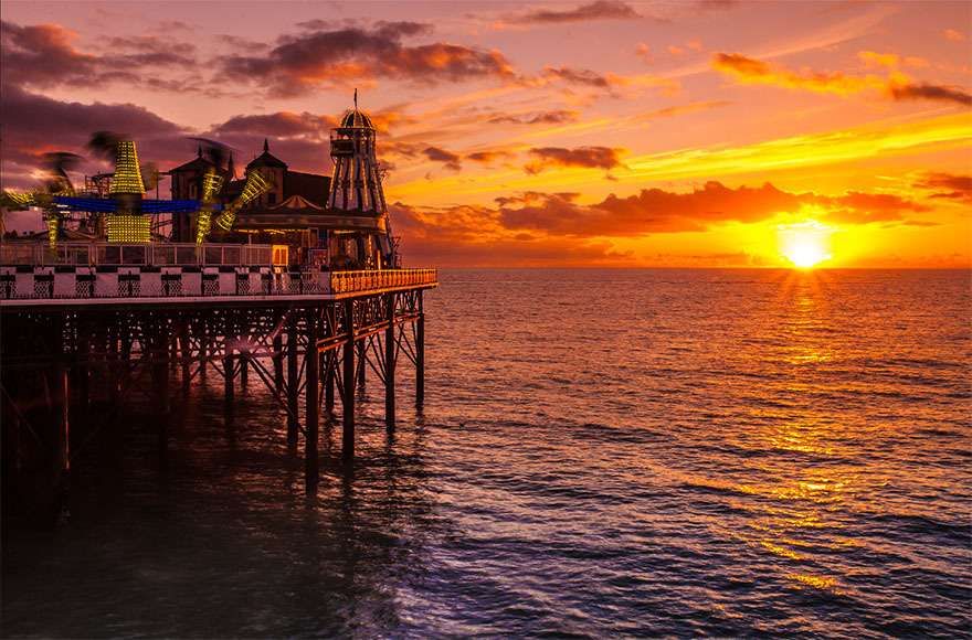 Stunning sunset views at Brighton Pier.