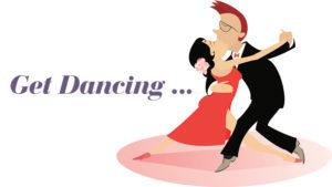 Cartoon couple dancing
