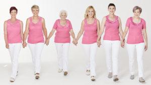 six ladies wearing Damart's pink vest