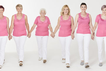 six ladies wearing Damart's pink vest