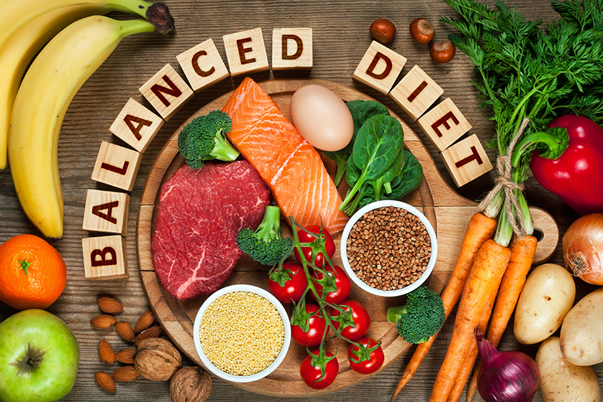 Select of food in a balanced diet