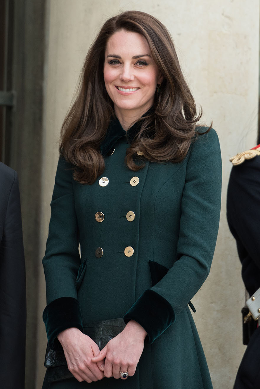 Kate Middleton with green coat