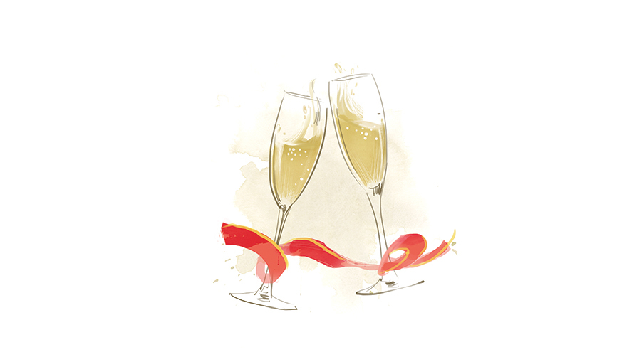Champagne glasses and red ribbon