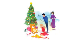 Young couple, christmas tree, woman with tray behind
