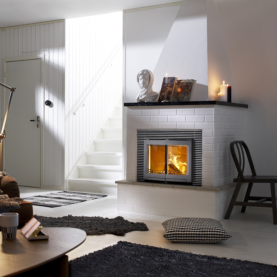 Fireplace in white living room