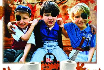 three children dressed as pilots fro Hallowe'en