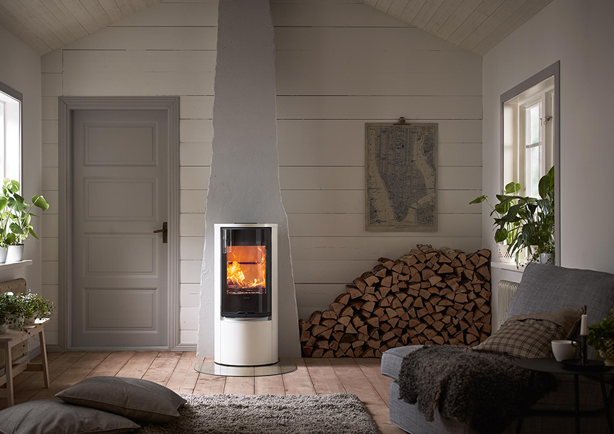 Tall woodburning stove in living room