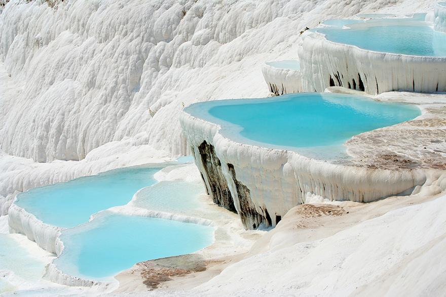 Natural Pamukkale basins full of water