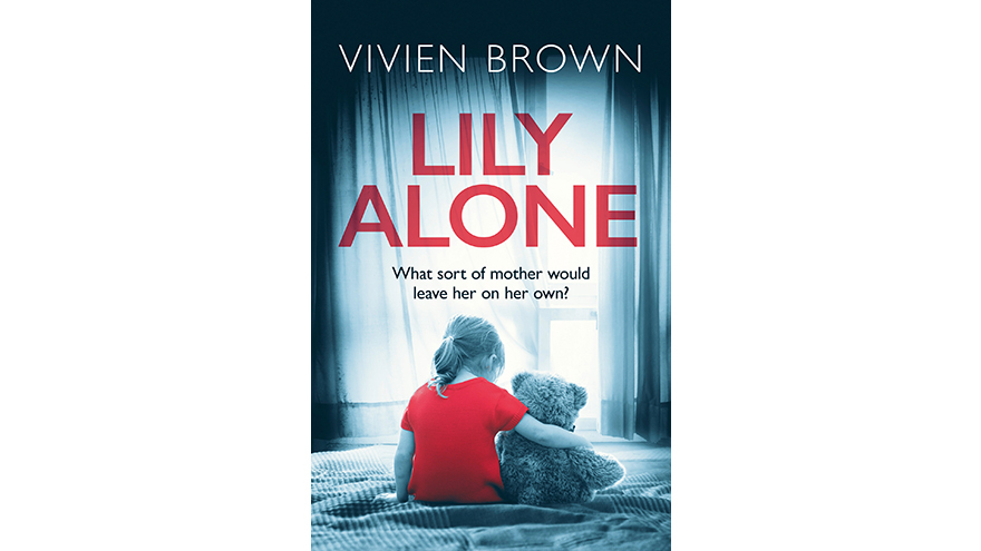 Lily alone book cover. Little girl in red clutching teddy