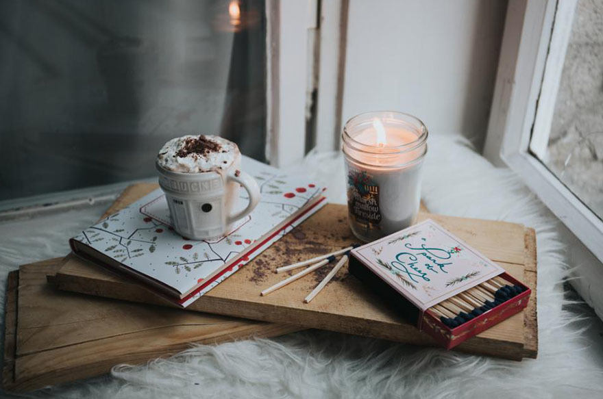 Hot chocolate drink and candle
